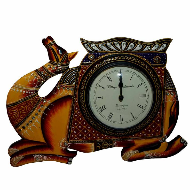 A unique wall clock with elegant camel designed artistically. Camel symbolism carries portents of endurance, survival, adaptive, nobility. A wall clock is beautifully crafted with proper cuts and immaculate finishing. Camel designed wall clock has traditional Rajasthani look that matches with any interior scheme and will splash your room with beautiful hues. Click here to buy this product - www.kalakhoj.com
