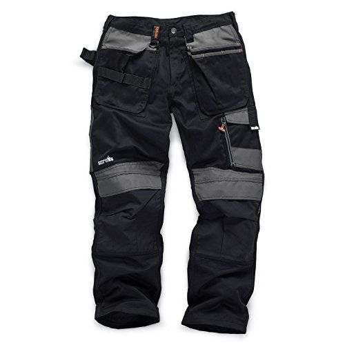 "From 39.99 Scruffs 3d Trade Hard Wearing Black Graphite Grey Work Trousers All Sizes (36"" Waist Regular Leg Black)"