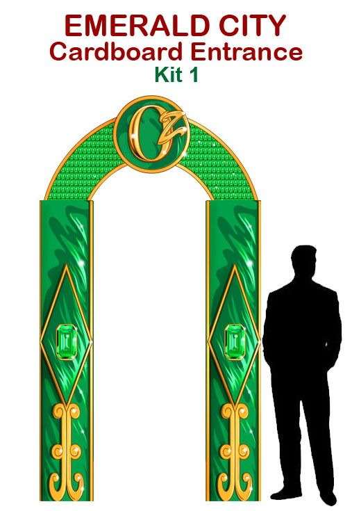 Emerald City Cardboard Entrance Cutout Prop     The perfect addition to our Emerald City Cardboard Cutout Prop.Take pictures or put at the entrance of your Wizard of Oz themed event! Adds sparkle and theatrics to any Oz production!     You ...