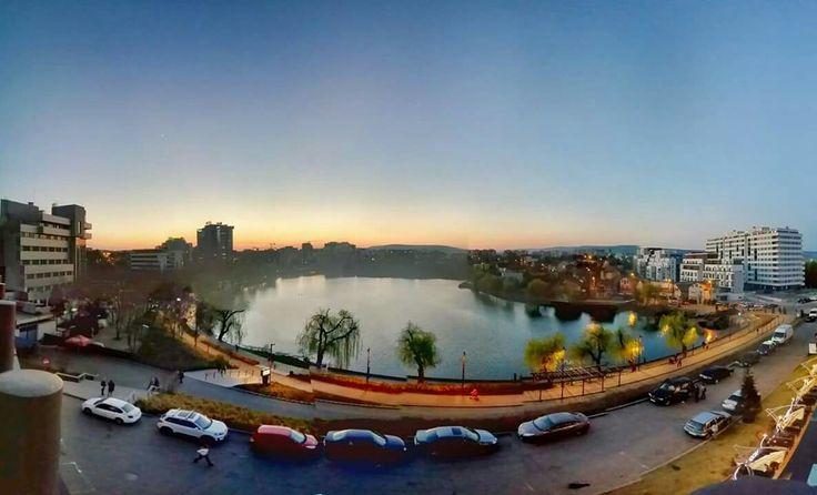 Sunset on Gheorgheni lake  in Cluj-Napoca