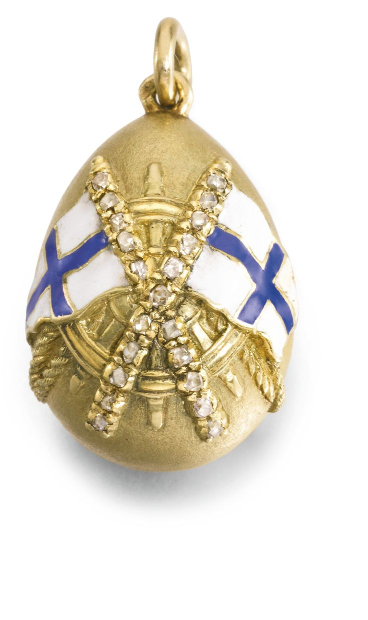 Foros: A Fabergé jewelled gold and enamel egg pendant, Oskar Pihl, St Petersburg, circa 1895 one side cast with an anchor beneath enamelled naval flags, their crossed poles set with rose-cut diamonds, the reverse with an anchor inscribed in Russian 'Foros'.