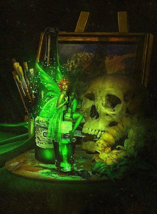 Green Absinthe Fairy. Beautiful Digital Illustrations by Lilia Osipova