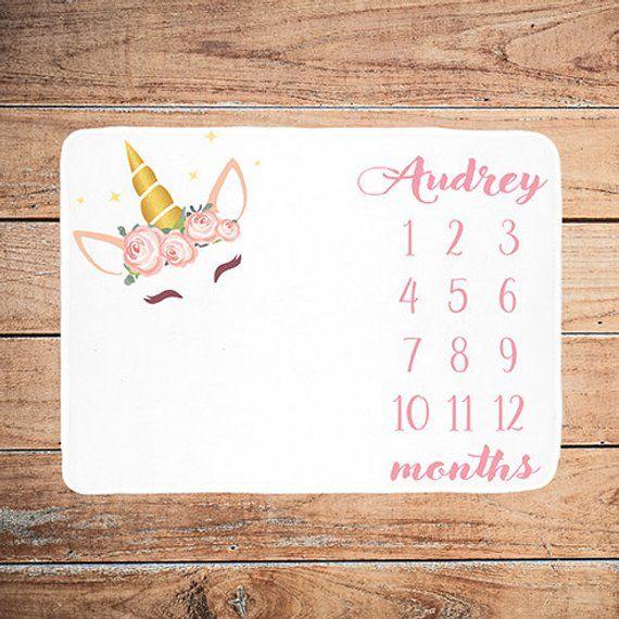 Blanket Milestone Unicorn, Blanket Baby Girl, Custom Girl Monthly Baby …   – everithing  for Baby