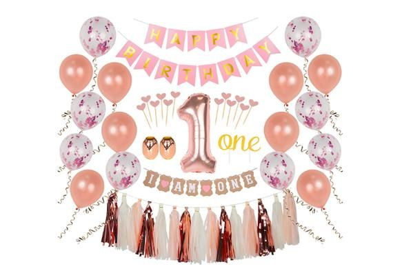 1st Birthday Decorations First Party Happy Banner One Cake Topper Baby Balloons