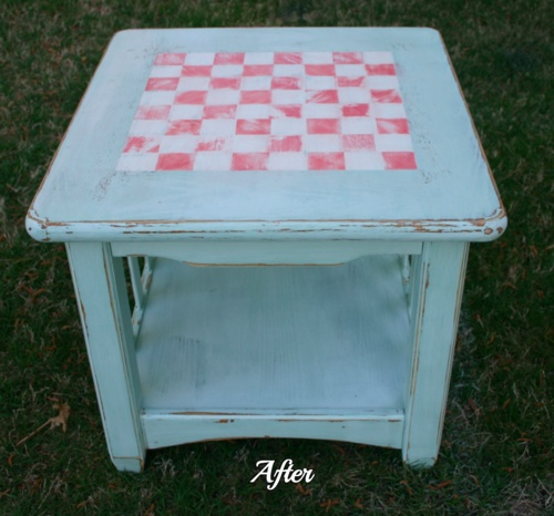 Checkerboard Top Table Done With Plaster Paint