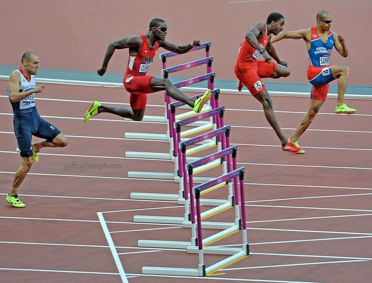 (Left to Right) Dai Greene, GBR, Kerron Clement, USA, Jehue Gordon, Trinidad and Tobago, Felix Sanchez, Dominican Republic. 400 hurdles final. London 2012 Olympic Games.
