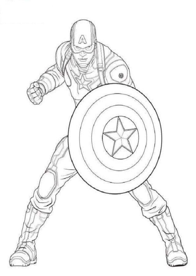 Inspírate con la versión en color! Dibujos de Capitán América Para Colorear - Dibujos Para