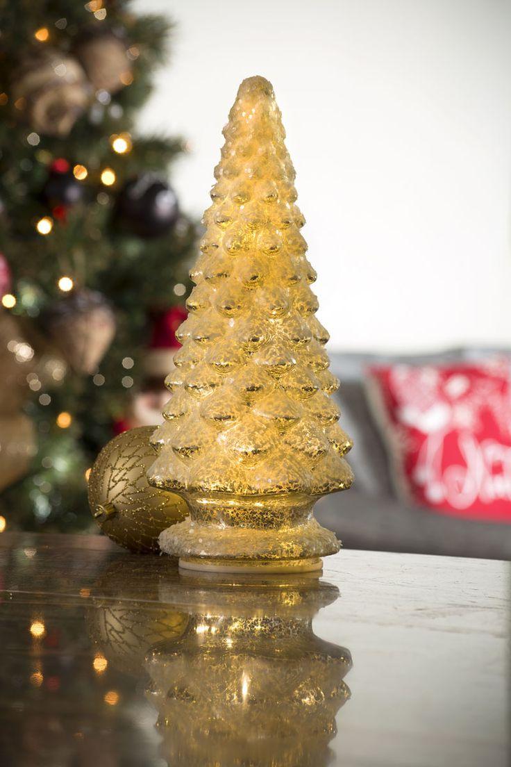 Pino navideño decorativo. Figura elaborada en cristal con iluminación. Medida 36 cm. Funciona con baterías (NO incluídas)