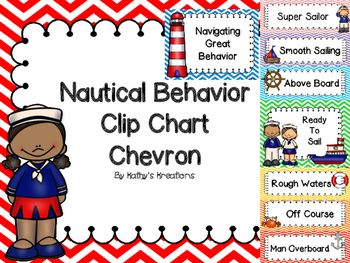 Here is a super cute colorful chevron behavior clip chart to go along with your Nautical Theme Classroom. Print on card stock, laminate and hang on a ribbon. The header is a full size page and the Ready To Sail is full size. The other clip phrases are on half the page and should be cut apart.