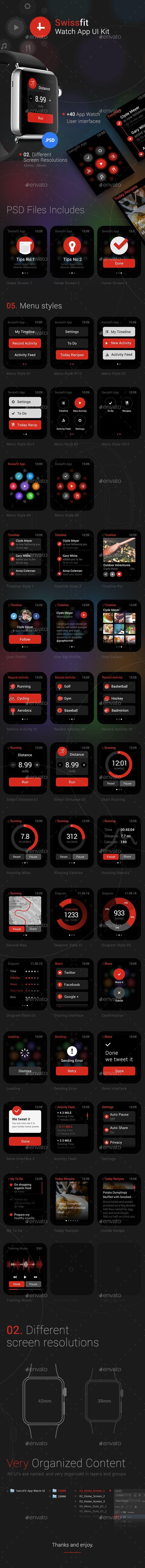 Swissfit Watch App User Interface Kit Template #design #ui Download: http://graphicriver.net/item/swissfit-watch-app-ui-kit/11382356?ref=ksioks
