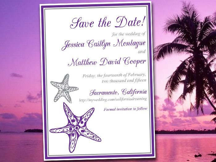 "Printable Save the Date Template - Beach Wedding Announcement ""Blissful Starfish"" Grape Silver Save the Date Invitation Card DIY Wedding by PaintTheDayDesigns on Etsy"
