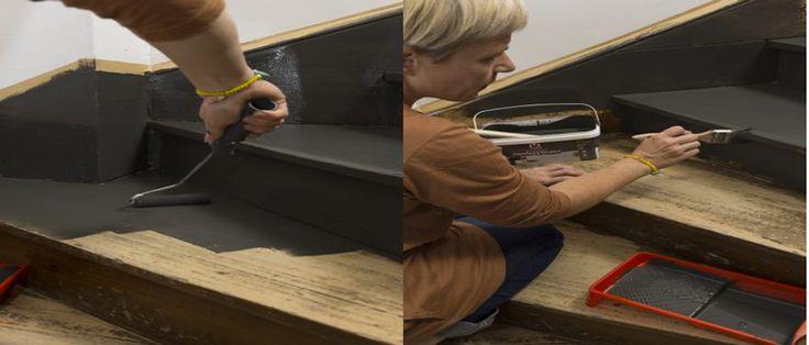 Peindre un escalier, l'astuce déco pour rénover facile nos escaliers en bois. Les étapes pour repeindre un escalier en bois verni ciré avec la peinture pour escalier V33 Rénovation