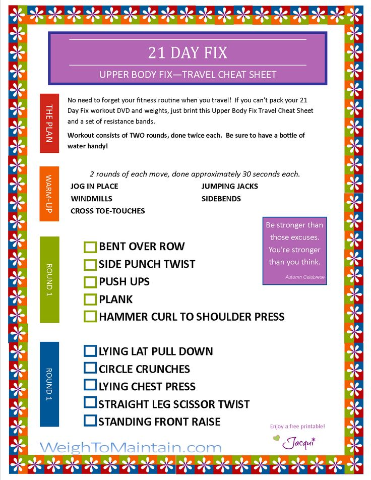21 Day Fix Upper Body Fix printable workout PDF. Exercise on vacation and download free printable 21 Day Fix Upper Body Fix workout travel cheat sheet.