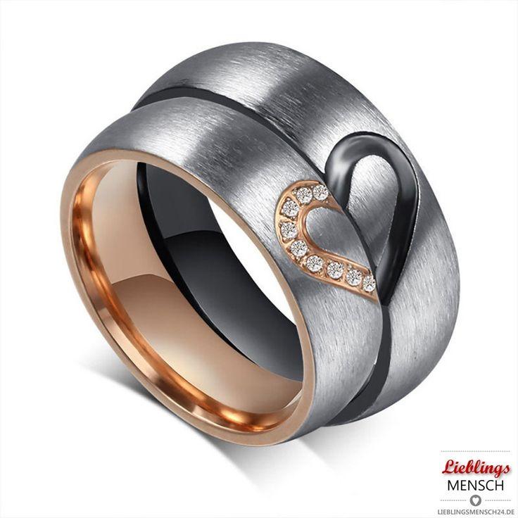 LIEBLINGSMENSCH Partnerringe. Set aus Damenring und Herrenring die zusammen ein Herz ergeben. Die Ringe können zusätzlich mit Gravur versehen werden.
