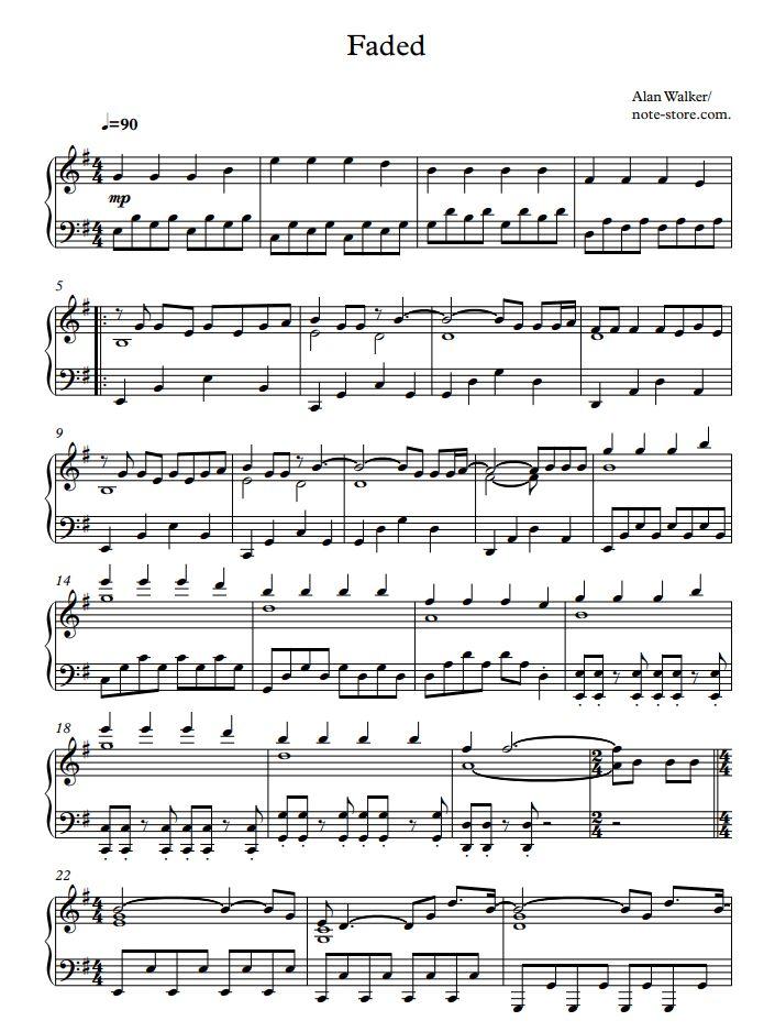 Faded Piano Easy Sheet Music Piano Sheet Music Alan Walker