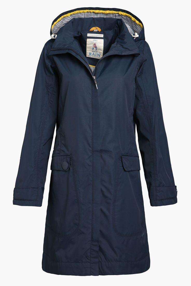 Flattering, practical Seasalt raincoat for women. Lightweight and knee length. Waterproof, windproof and breathable. A best seller for seasons. #RaincoatsForWomenCotton