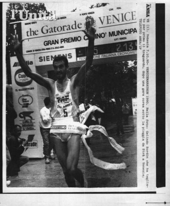 "Venice Marathon 1990. Gelindo Bordin (1959), vincitore in 2h13'41"""