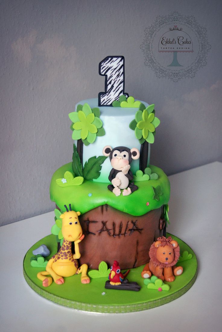 #kindertorte #kind #affe #1geburtstag # cake #boy #Dschungel #jungle #fondant #джунгли #животные #детский #торт #жираф #лев #обезьяна #мастика