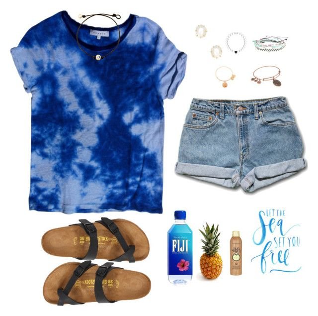 """""""A Pineapple A Day Keeps The Worries Away"""" by avazumpano ❤ liked on Polyvore featuring Sandro, Kendra Scott, Pura Vida, Birkenstock, Alex and Ani and Sun Bum"""