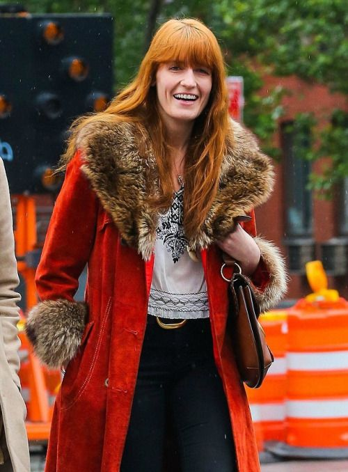 dardalisservice: She's Got The Love: Florence Welch takes a step back in time in flamboyant orange suede coat and flared jeans for a stroll in New York