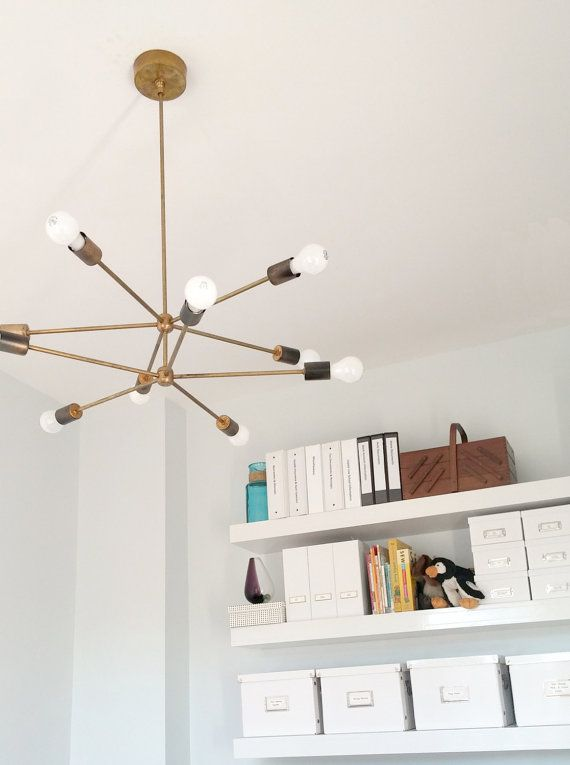 The Napoleon Chandelier - 2 Tiered Sputnik chandelier / hanging light / pendant light made of brass or finished in your color of choice