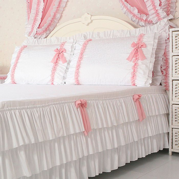 Custom ! Free Shipping Brand 100% cotton 4pcs Bedding Set Queen King Size Luxury Single Duvet Cover Bed Skirt White Ruffled Lace-inBedding S...