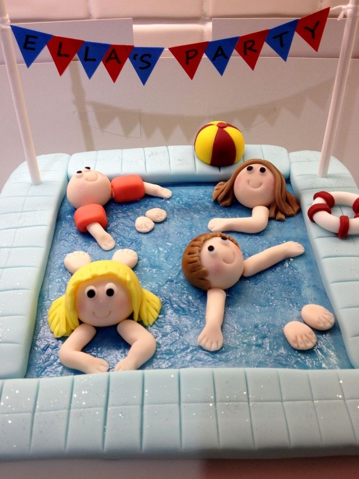 Swimming Pool Party Cake! Piping gel water effect. Bunting. Fondant / sugar paste swimmers. Fondant tiles. Beach ball & rubber ring.