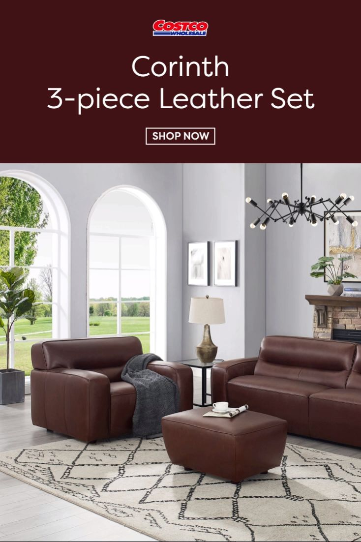 Corinth 3piece leather set with sofa chair and ottoman