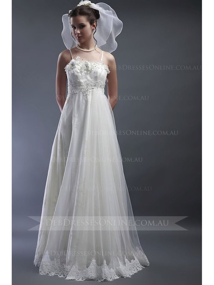 Romantic #debdress comes in A-line with spaghetti straps. This vinatge inspired style features beaded lace trimming accented with sparkling Swarovski crystals. Complete in zipper back closure with a satin bow and lace frills embellished on the back. #spaghettistrapsdebdress #debutantegown #vintagedebdress #debdressesonline  #debdresses  #debdressshop  #debutante #debutantes2016  #debutanteball #debdressesmelbourne
