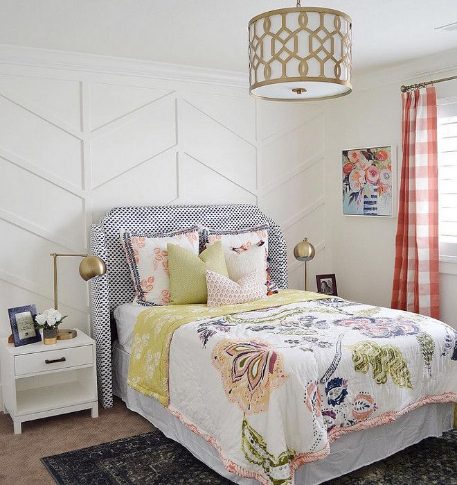 Bedroom featuring custom herringbone wainscoting. |  Sita Montgomery Interiors.