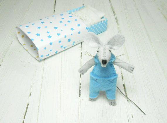 Small hand made doll plush felt mouse animal in matchbox toy #sllepy #feltmouse #sleepymouse #mickeymouse