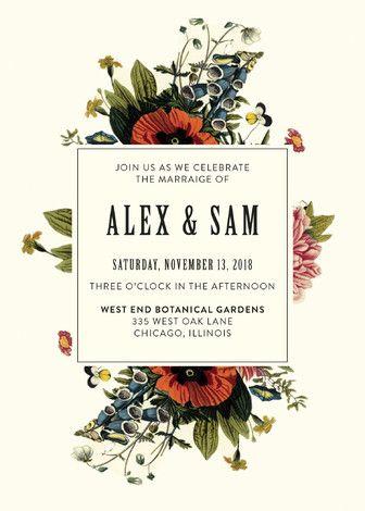 """""""Vintage Garden Invite"""" - Floral & Botanical, Vintage Wedding Invitations in Vintage Beige by Alisa Wismer."""