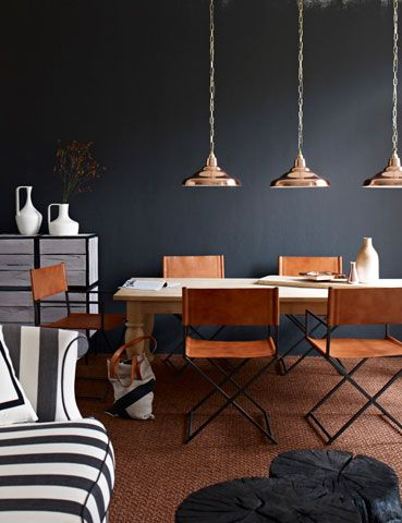 copper pendants? love the leather chairs too.