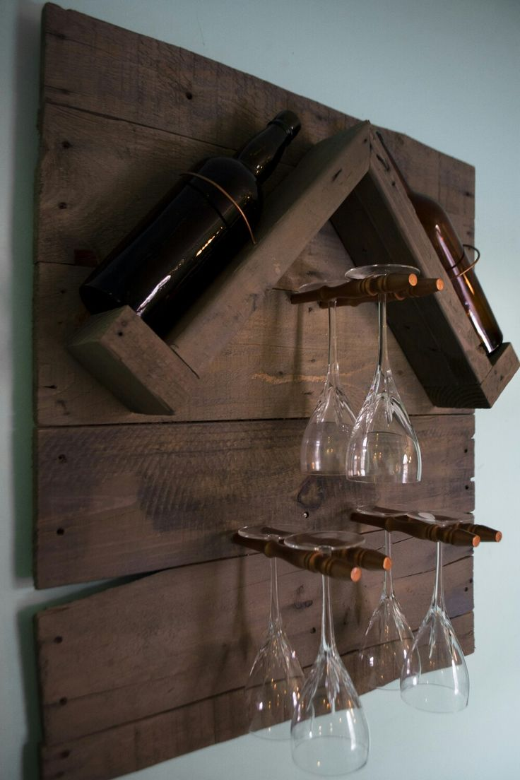 Reclaimed wood pallet turned into a wine rack