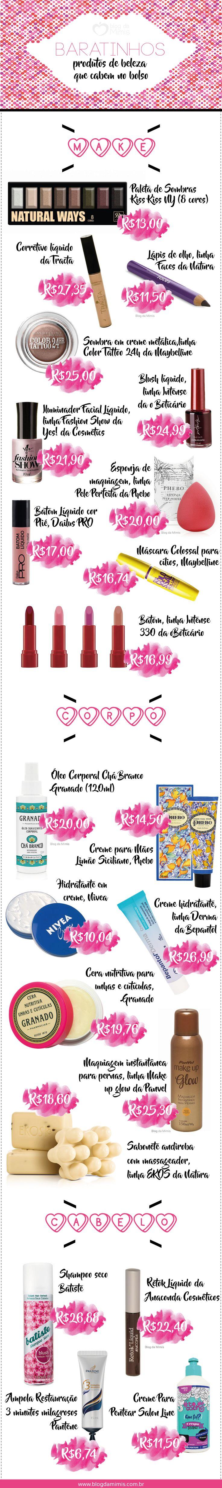 Baratinhos: produtos de beleza que cabem no bolso - Blog da Mimis - #beleza #make #dicadeprodutos #dicas #beauty #batom #barato #economia