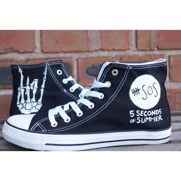 5 Seconds Of Summer 5 sos hand painted canvas high tops, made to... (€50) ❤ liked on Polyvore featuring shoes, sneakers, 5sos, converse, summer sneakers, canvas high top sneakers, high top sneakers, waterproof footwear and waterproof sneakers
