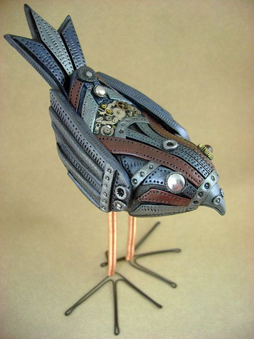 Mechanical Birdie - Fully Customizable - Freestanding Industrial Steampunk Bird Sculpture