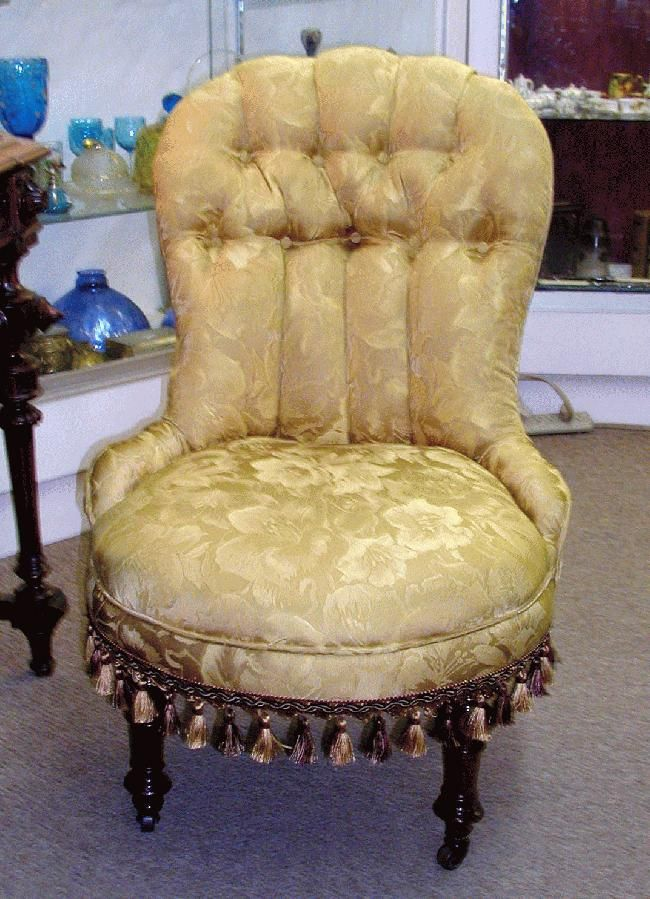 American Victorian Ladies Slipper Chair -- Beautiful ladies slipper chair,  circa 1880. This chair has been completely reupholstered with a… - American Victorian Ladies Slipper Chair -- Beautiful Ladies Slipper