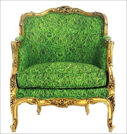 The artist indulges in the ultimate recycling program by finding one-of-a-kind French and Italian antique chairs and beds, then reupholstering them in eye-popping prints.This item may be purchased on ecofirstart.com