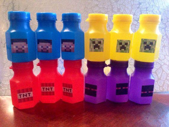 12 Minecraft Mini Bubbles Steve Creeper Birthday Party Goody Bags Candy Piñata