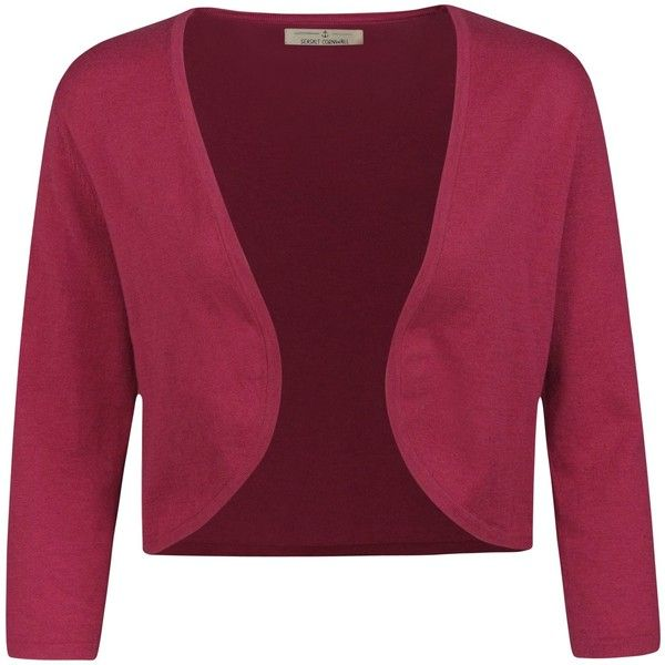 Seasalt Egloskerry Cropped Cardigan , Rosa (€44) ❤ liked on Polyvore featuring tops, cardigans, rosa, crop top, 3/4 sleeve crop top, three quarter sleeve tops, purple top and purple crop top
