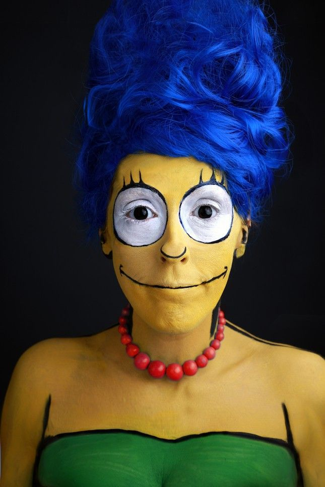 This Marge Simpson makeup is impressive.
