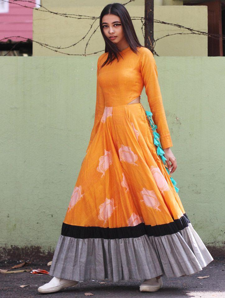 Yellow orange anarkali dress