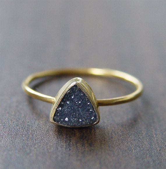 This beautiful noir black druzy gemstone features a subtle sparkle and pretty triangle cut shape. Set in 14k gold fill, this ring has a delicate
