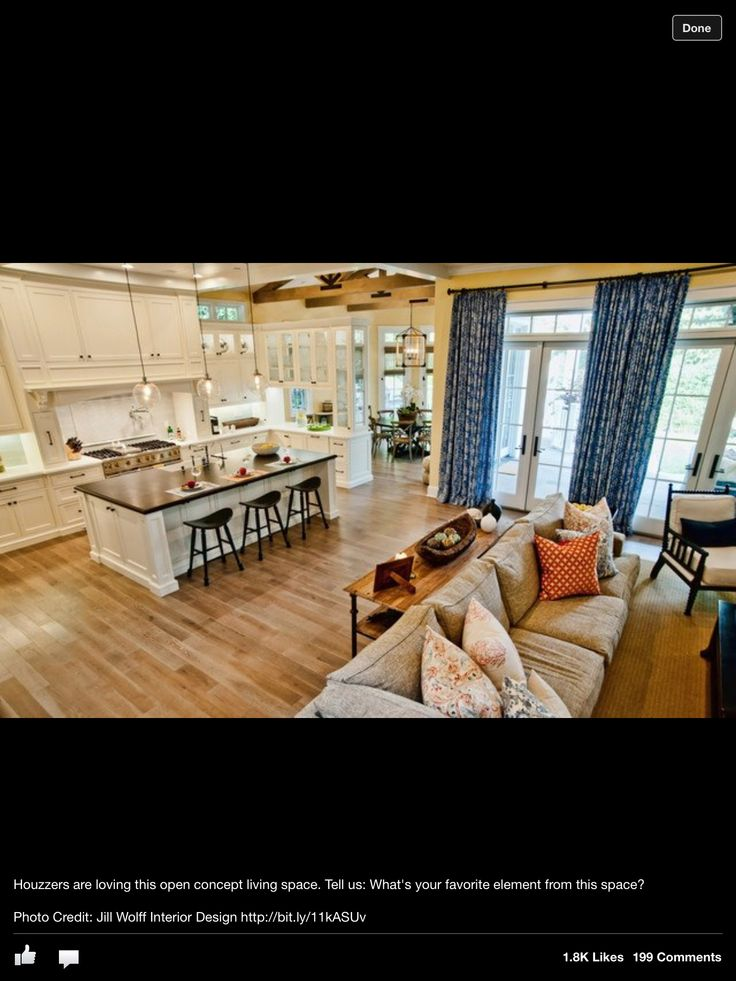 27 best images about kitchen family room combo on for Kitchen living room combo