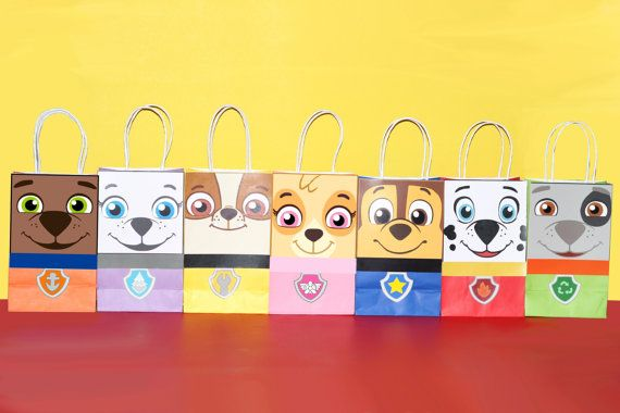 """Decorate your Paw Patrol Party with these 6 cute faces for your Favor Bags. You may print as many as you need. Use them to create your own favor bags or centerpieces. This file includes: 1 Chase 1 Skye 1 Zuma 1 Rubble 1 Marshall 1 Rocky 1 Everest Instruction Sheet (Bags are not included) Instructions: 1) Purchase the file 2) Download the file: Click """"You"""" then click """"Purchases and Reviews"""" then download 3) Print the File (On White Card stock paper) 4) Cut the Image 5) Paste on the bag (I…"""