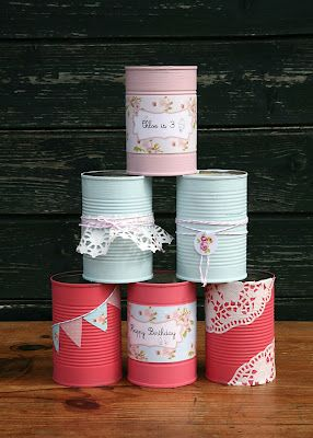 Tin can skittles - paint & decorate empty tin cans with labels removed. Grab a ball and away you go! Chloe's Ice Cream Birthday Party | That Cute Little Cake