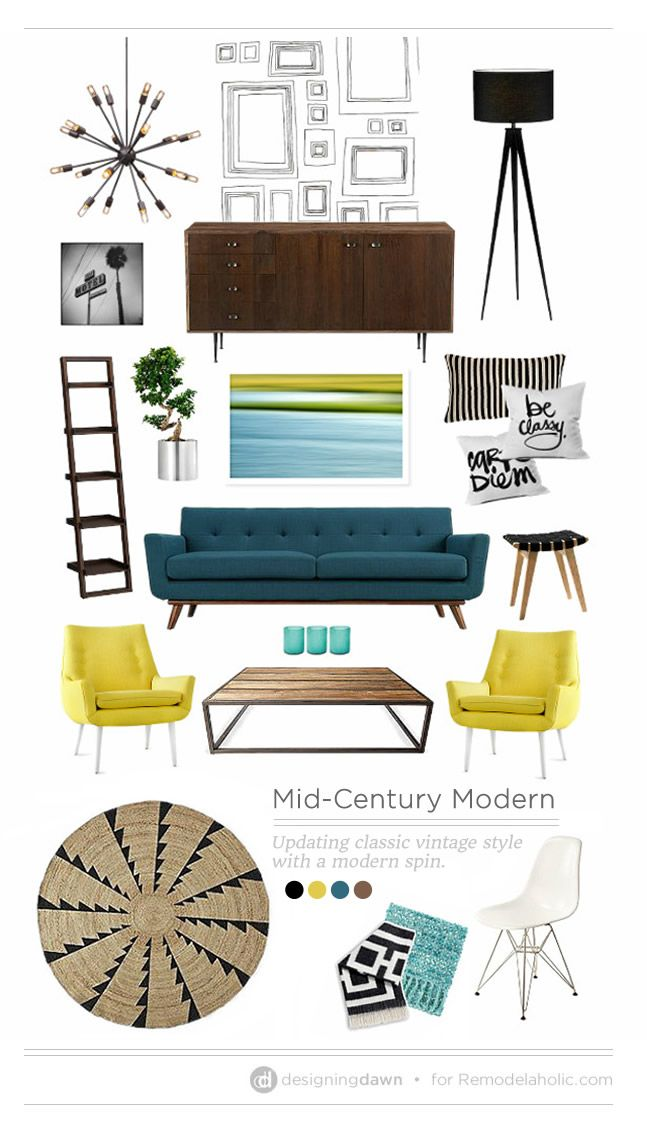 Mid-Century-Modern. I love everything about the living room spread featured in this article! That light! That color palette! Delicious!