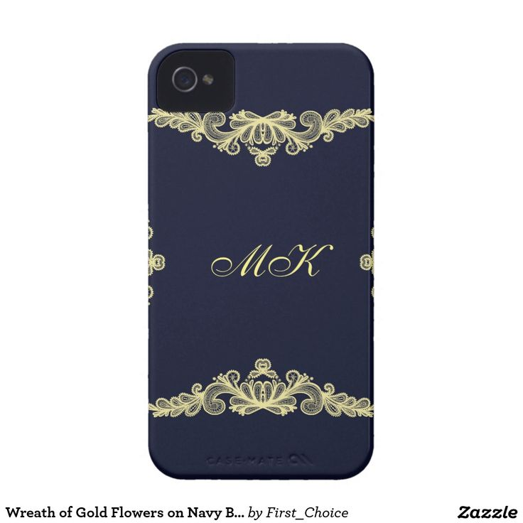 Wreath of Gold Flowers on Navy Blue iPhone 4 Cover