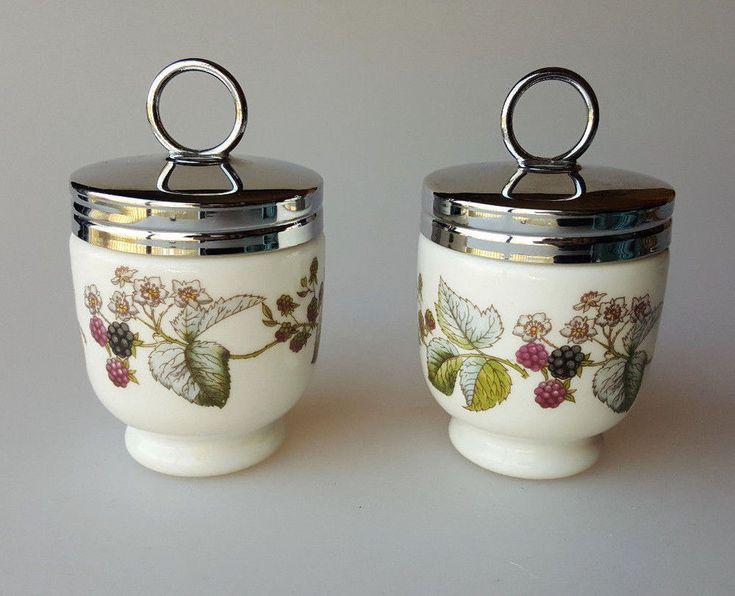 Royal Worcester porcelain egg coddlers blackberry Lavinia pattern set of 2 #RoyalWorcester